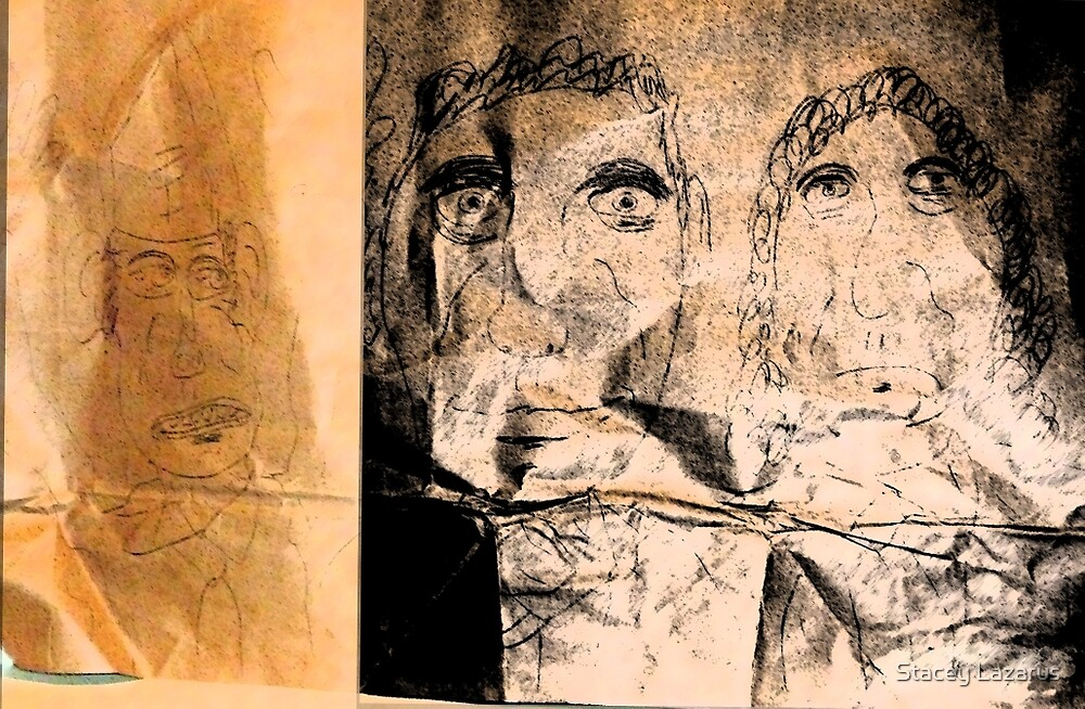 drawing on brown paper, lighting in 2 sections by Stacey Lazarus