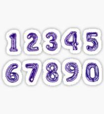 Mylar Balloon Number stickers (purple, hand painted.) Sticker