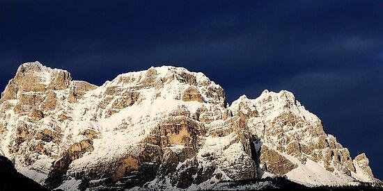 Dolomites on the blue sky by Francesco Malpensi