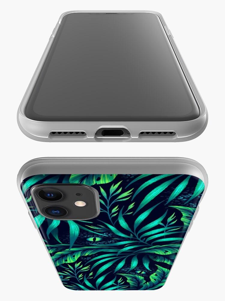 Alternate view of Jurassic Jungle - Emerald Green iPhone Case & Cover