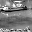 Still Reflections and a Pontoon Boat in BW by Charldia