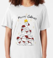 Merry Catmas Christmas Tree Cats Cat Lover Gift Slim Fit T-Shirt