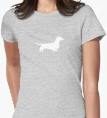 Dachshund Silhouette(s) Womens Fitted T-Shirt