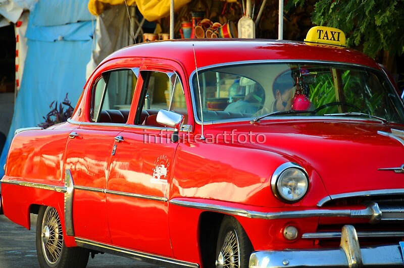"""""""Red Cuban Taxi Cab"""" By Infiniteartfoto"""