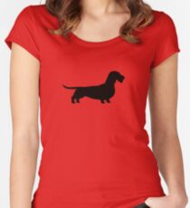 Wire Haired Dachshund Silhouette(s) Women's Fitted Scoop T-Shirt