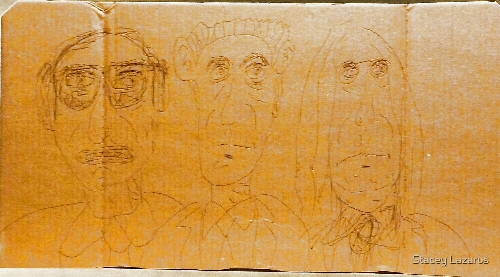 drawing on cardboard, 3 men by Stacey Lazarus