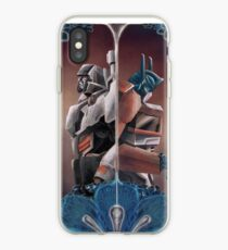 Optimus and Megatron and the Blue Flowers iPhone Case