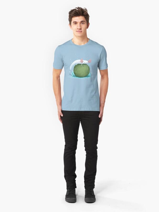 Alternate view of Axolotl on a Mossball Slim Fit T-Shirt