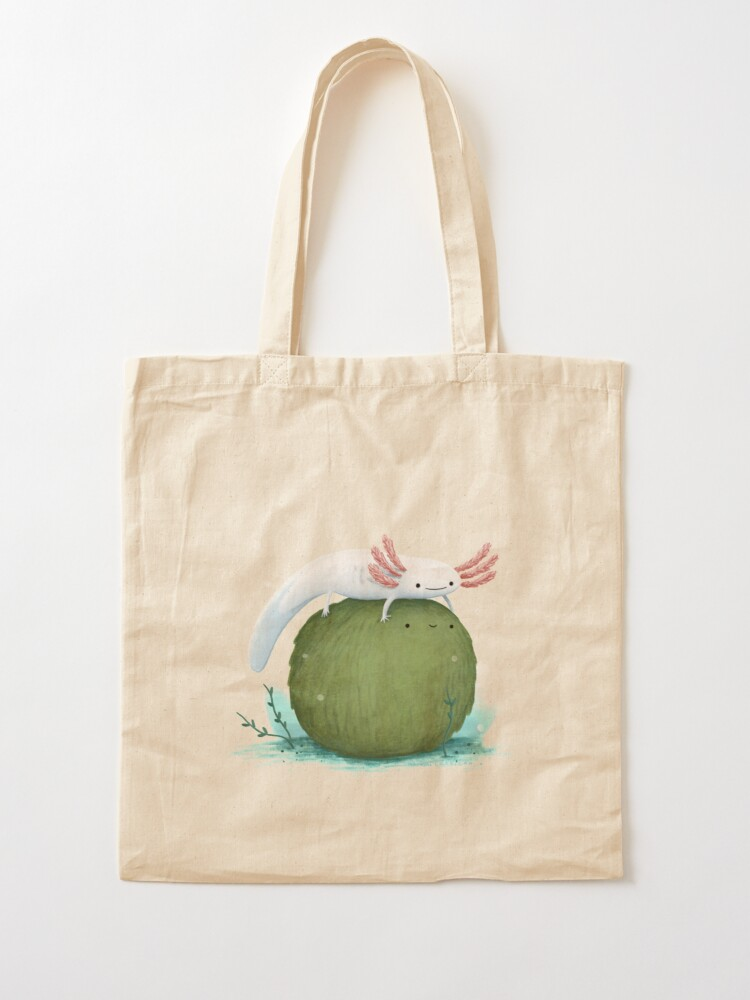 Alternate view of Axolotl on a Mossball Tote Bag