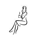 Elegant Lady Line Drawing by RyanDraws