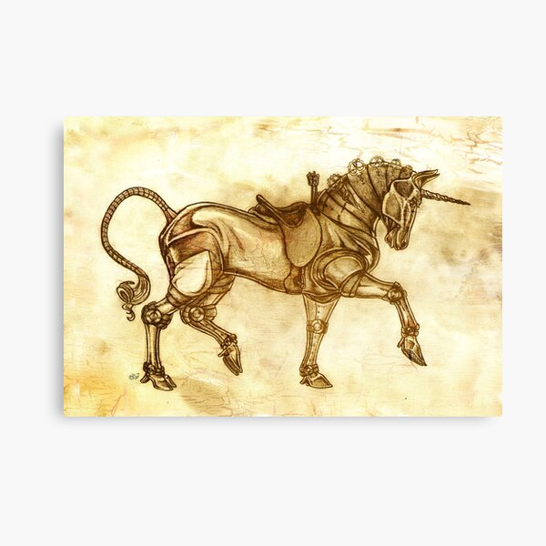 Steampunk Unicorn Sketch Canvas Print