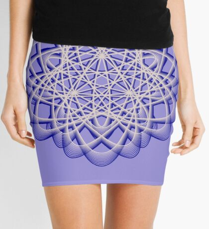 Abstract Dark Blue Violet Atomic Swaps Mini Skirt