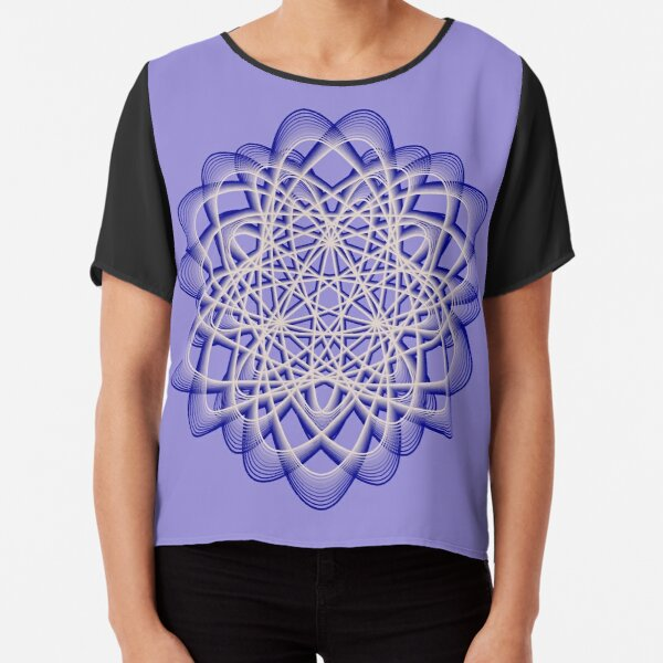 Abstract Dark Blue Violet Atomic Swaps Chiffon Top