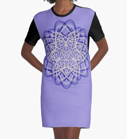 Abstract Dark Blue Violet Atomic Swaps Graphic T-Shirt Dress