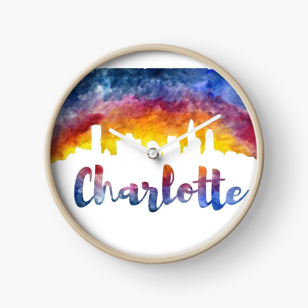 Charlotte Cityscape - Reverse Silhouette  Clock