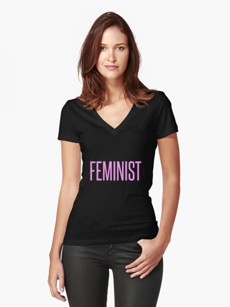 FEMINIST Women's Fitted V-Neck T-Shirt Front