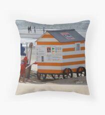 Beach Shelter - Duinbergen - Belgium Throw Pillow