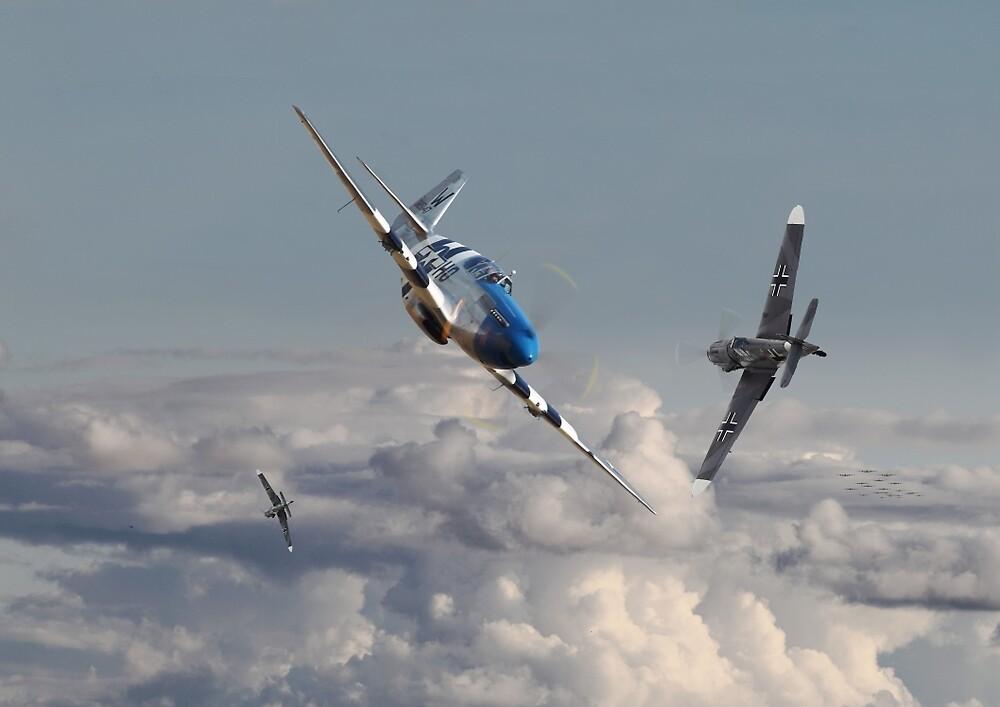 P51  - Top Gun - 1944 Version (P51 v Bf109) by Pat Speirs