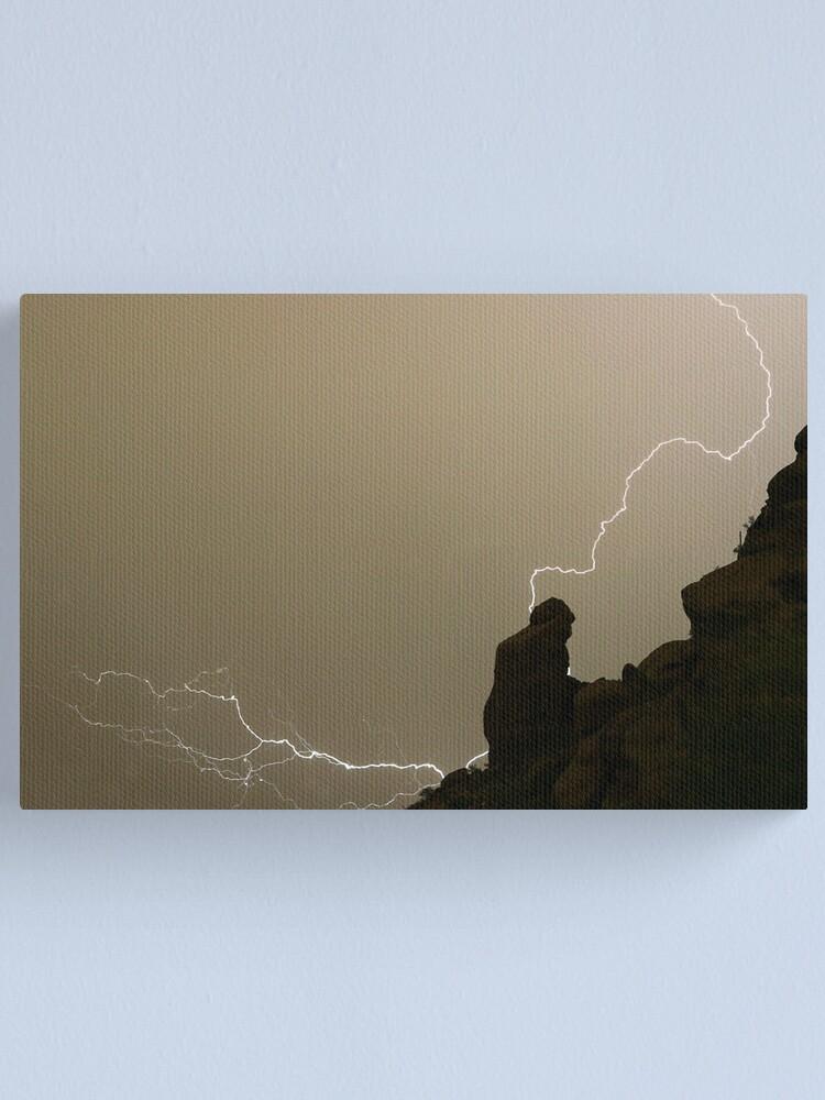 Alternate view of The Praying Monk Lightning Strike Sepia Print Canvas Print