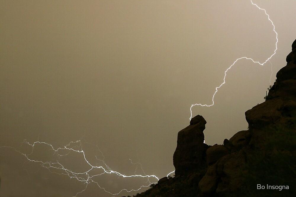 The Praying Monk Lightning Strike Sepia Print by Bo Insogna