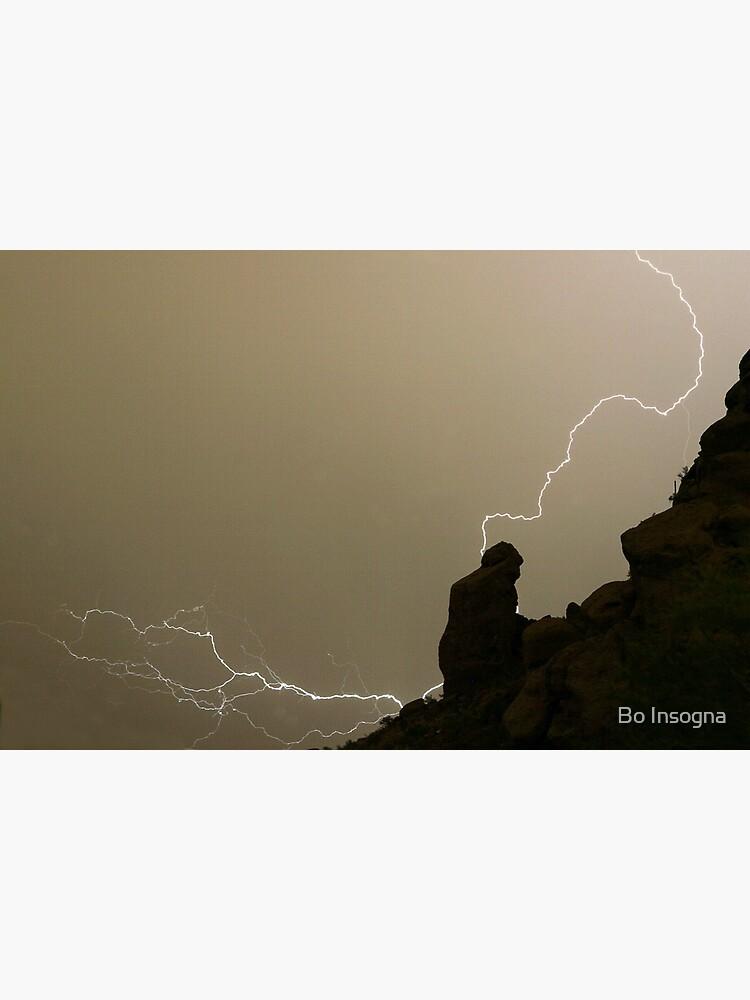 The Praying Monk Lightning Strike Sepia Print by mrbo