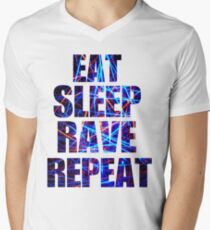 Eat Sleep Rave Repeat Men's V-Neck T-Shirt