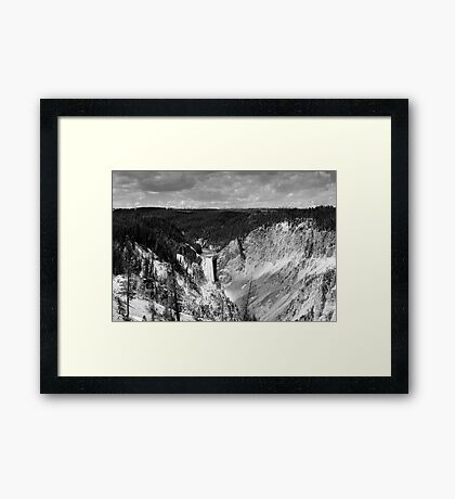 Lower Yellowstone Falls in Black and White Framed Print