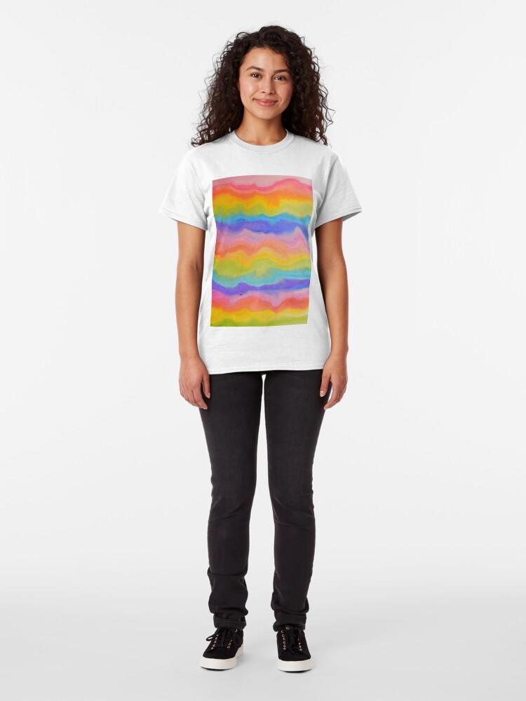 Alternate view of rainbow abstract, melt / rainbow paint splurge Classic T-Shirt