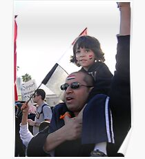Father and Son Demonstrate Supporting Egypt Poster
