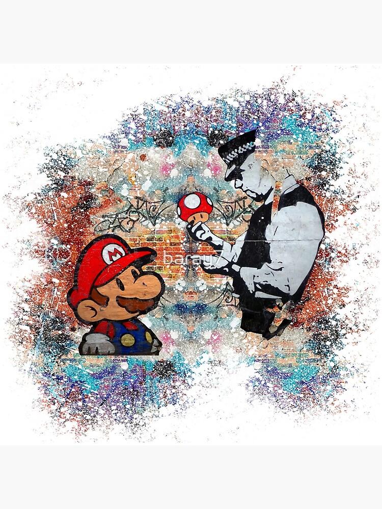 Banksy street art Graffiti London Cop Super Mario Funny Parody by baray7