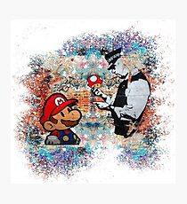 Banksy street art Graffiti London Cop Super Mario Funny Parody Photographic Print