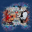 «Arte callejero de Banksy Graffiti London Cop Super Mario Funny parodia» de baray7