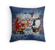 Banksy street art Graffiti London Cop Super Mario Funny Parody Throw Pillow