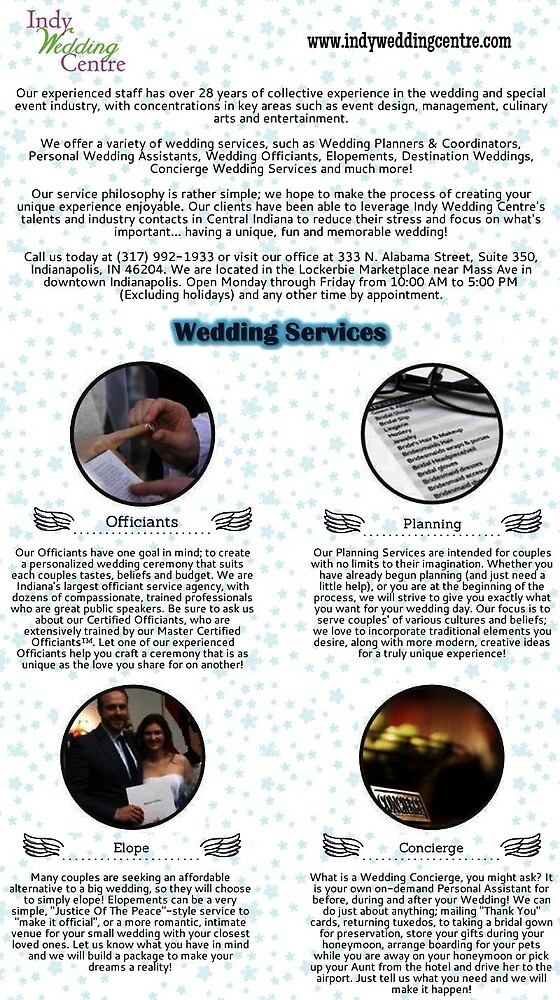 Personalized Wedding Services in Indianapolis by indyweddingcent