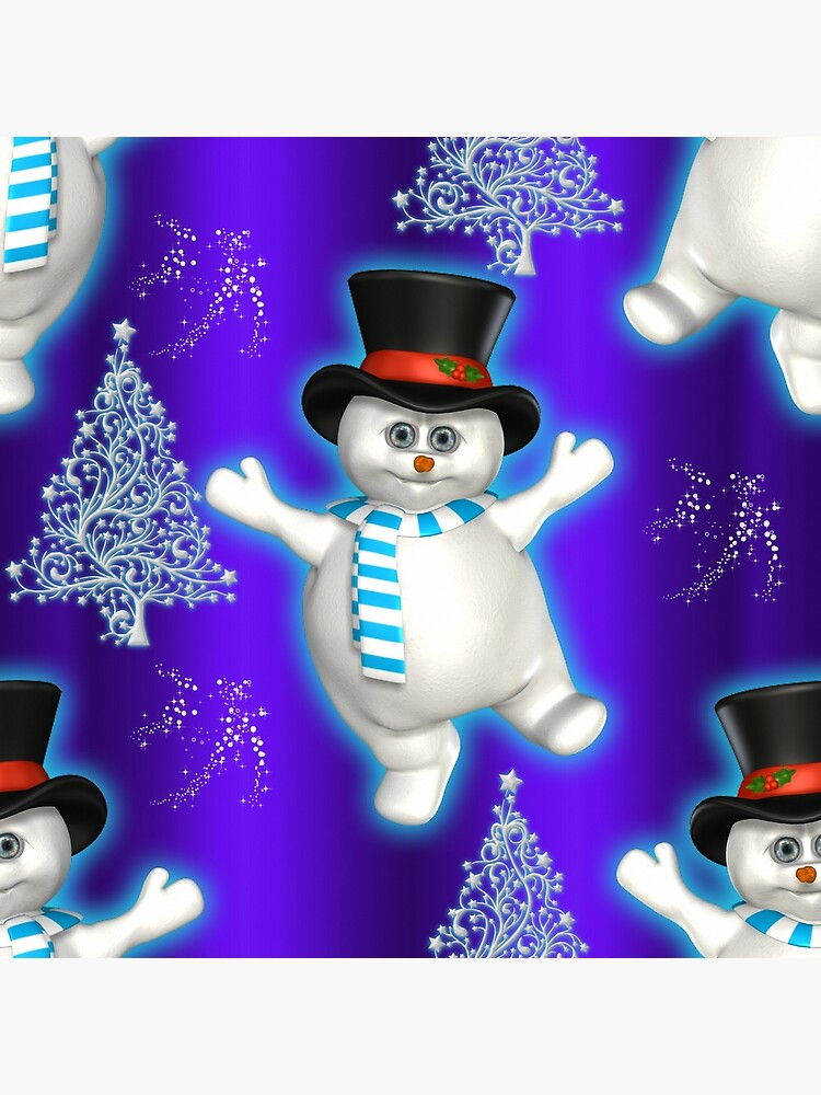 Cute Blue Christmas Dancing Snowmen by GraphicAllusion