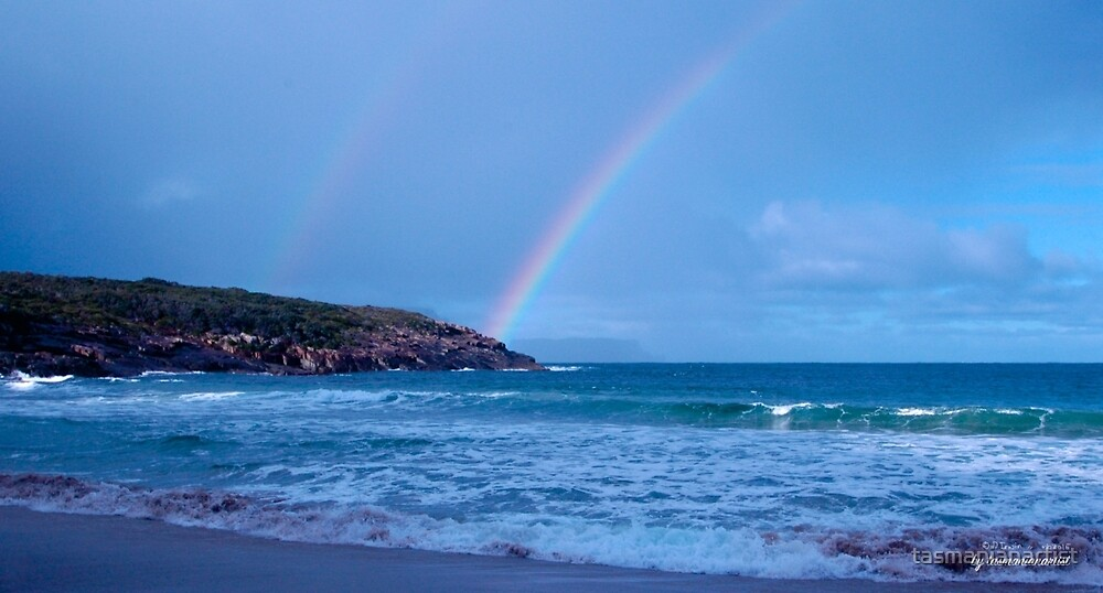 TASMAN PENINSULA ~ Double Rainbow over Crescent Bay by tasmanianartist by tasmanianartist