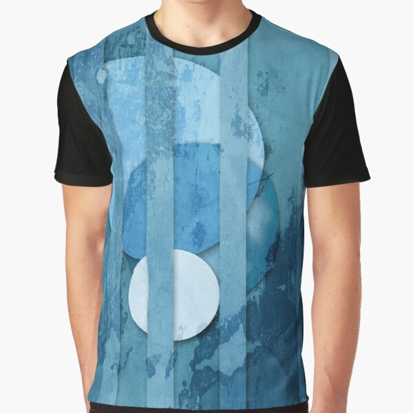 Blue Circles and stripes Feng Shui Water Elements Graphic T-Shirt