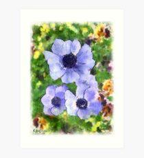 Blue Astors Art Print