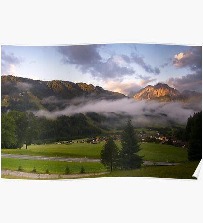 Dawn at Podkoren looking to Srendja Ponca, Slovenia Poster