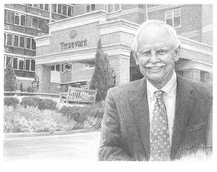 retiring CEO drawing by Mike Theuer