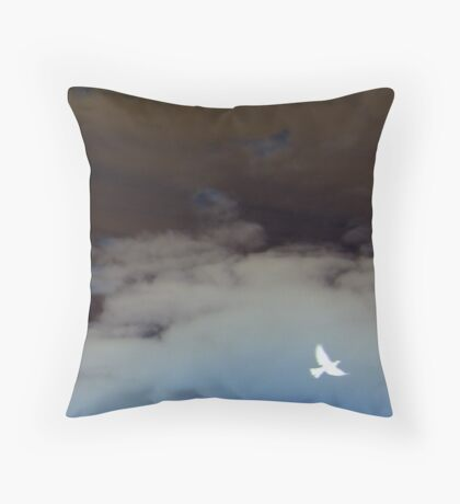 hope (clouded sky, white bird flying free) Throw Pillow
