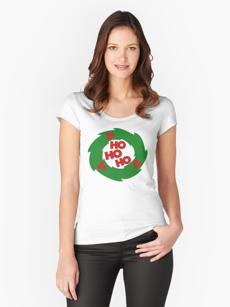 ho ho ho Christmas wreath Women's Fitted Scoop T-Shirt Front