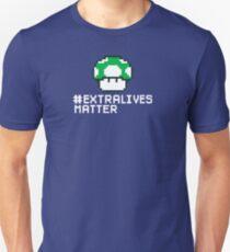 #Extra Lives Matter | Geek Gamer 1Up Mushroom with Slogan T-Shirt