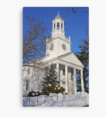 Winter White Small Town Church Canvas Print
