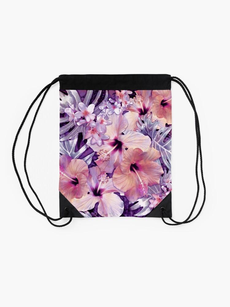 Alternate view of Violet Vintage Tropical Drawstring Bag