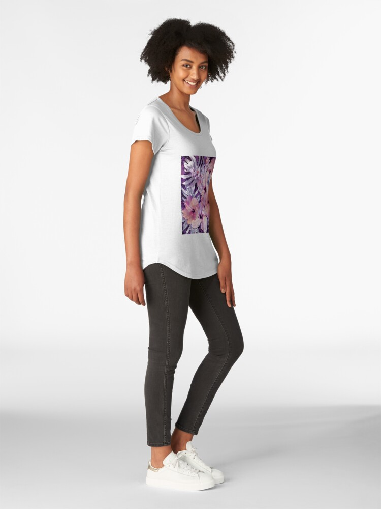 Alternate view of Violet Vintage Tropical Premium Scoop T-Shirt