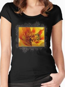 Portulaca in Orange Fading to Yellow Women's Fitted Scoop T-Shirt