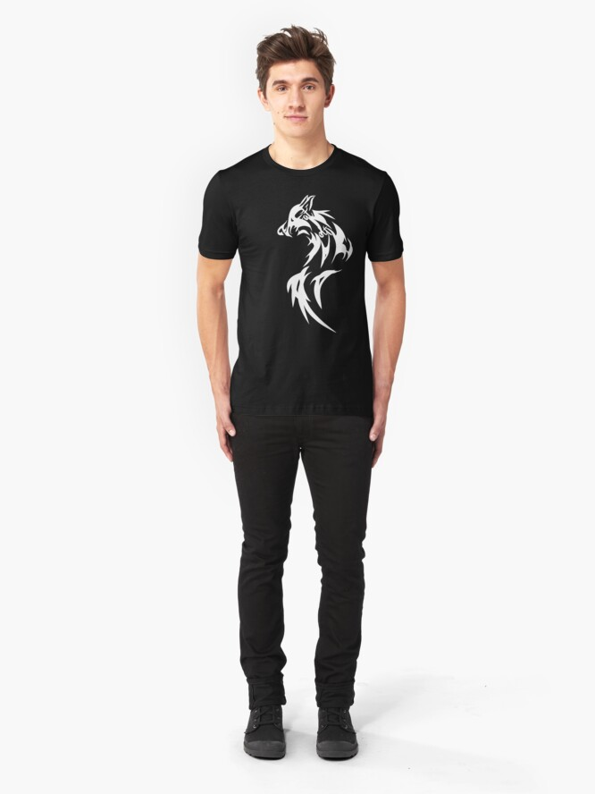 Alternate view of Fat Wolf - Wolf Tail White Slim Fit T-Shirt