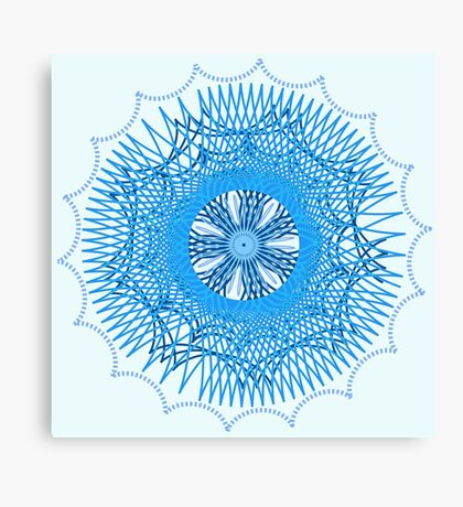 Blue Spirograph Canvas Print