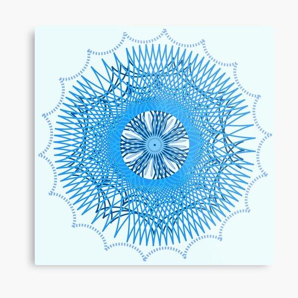 Blue Spirograph Metal Print